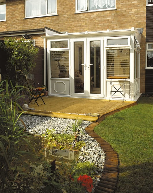 White upvc Lean-to Conservatory by Adam Window Centres, Tuckton